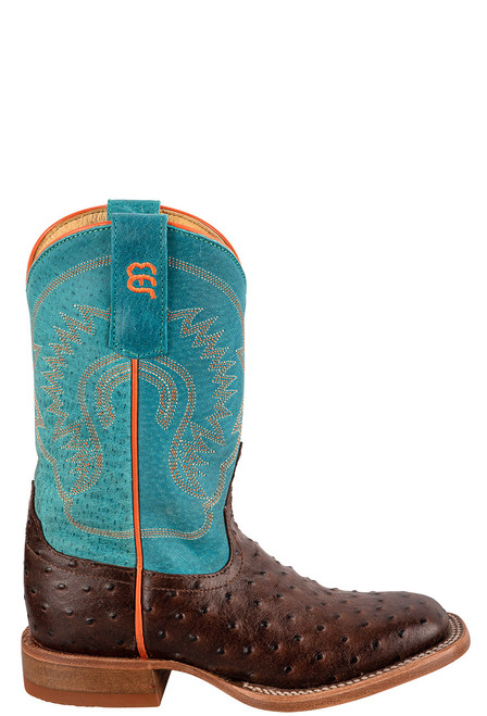 Anderson Bean Turquoise &  Chocolate Ostrich Print Boots for Kids - Side