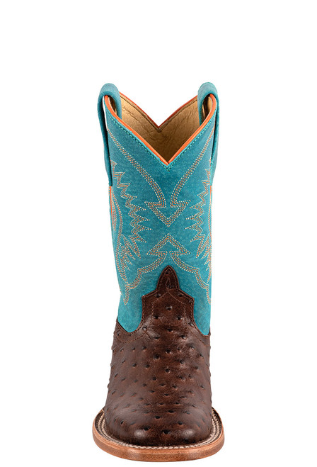 Anderson Bean Turquoise &  Chocolate Ostrich Print Boots for Kids - Front