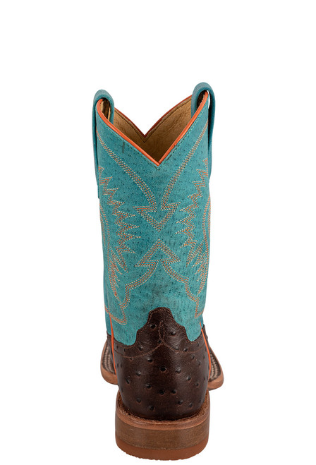 Anderson Bean Turquoise &  Chocolate Ostrich Print Boots for Kids - Back