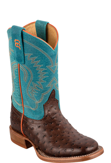 Anderson Bean Chocalate & Turquoise Ostrich Print Boots for Kids