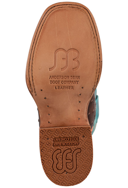 Anderson Bean Chocalate & Turquoise Ostrich Print Boots for Kids - Sole