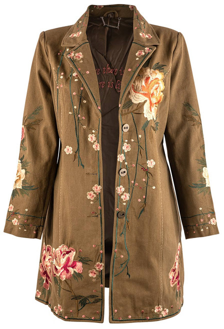Paparazzi by Biz Floral Embellished Twill Coat - Tan - Open