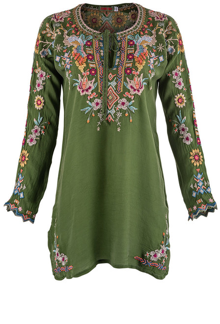 Johnny Was Sunflower Embroidered Tunic - Front