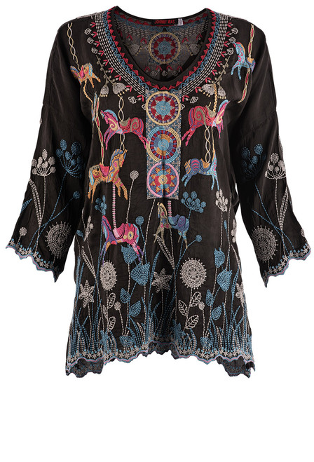 Johnny Was Carousel Embroidered Blouse - Front