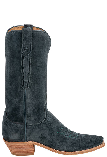 """Lucchese Women's Eleanor 12"""" Turquoise Suede Boots - Side"""