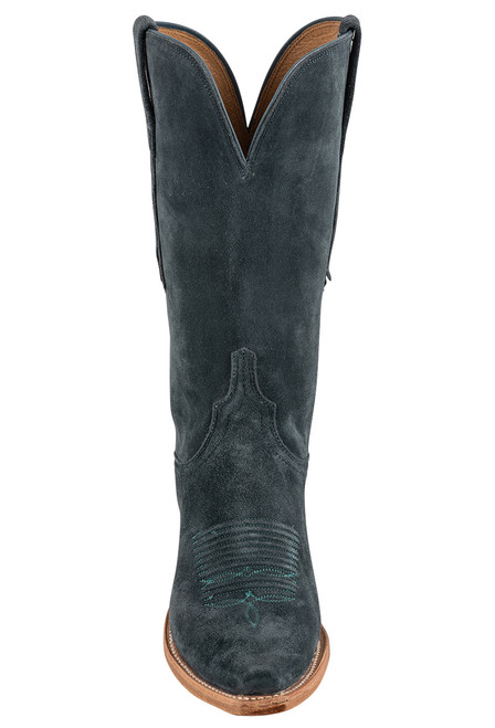 """Lucchese Women's Eleanor 12"""" Turquoise Suede Boots - Front"""