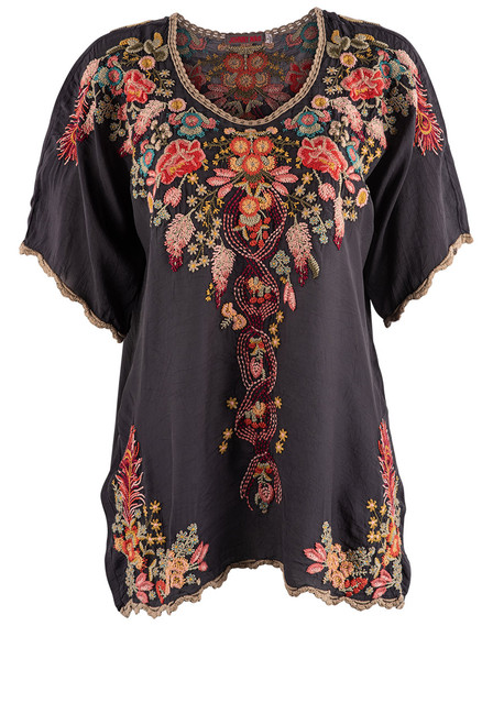 Johnny Was Bellefleur Graphite Embroidered Blouse - Front
