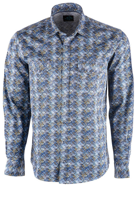 Pinto Ranch YY Collection Faded Blue & Gold Diamond Shirt - Front