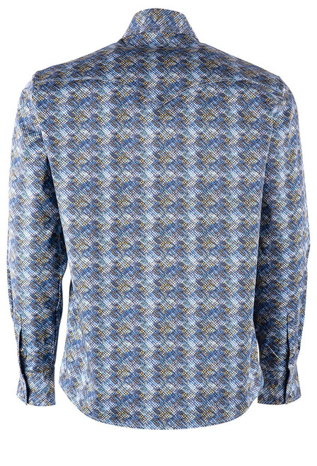 Pinto Ranch YY Collection Faded Blue & Gold Diamond Shirt - Back