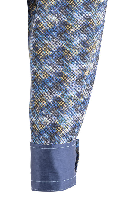 Pinto Ranch YY Collection Faded Blue & Gold Diamond Shirt - Cuff