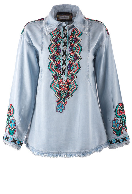 Vintage Collection Charlie Embroidered Tencel Shirt - Front