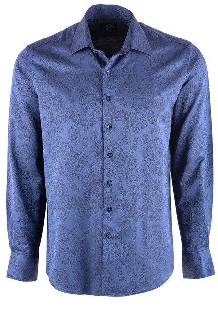 Pinto Ranch YY Collection Blue Solid Jacquard Snap Shirt - Front