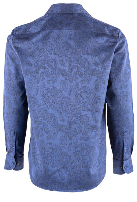 Pinto Ranch YY Collection Blue Solid Jacquard Snap Shirt - Back