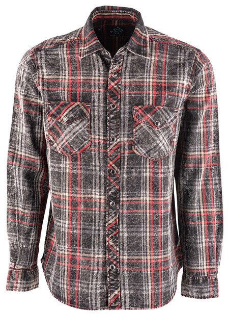 Pinto Ranch YY Collection Black, Red, White Washed Indigo Plaid Snap Shirt - Front