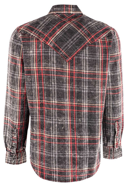 Pinto Ranch YY Collection Black, Red, White Washed Indigo Plaid Snap Shirt - Back