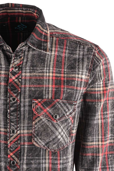 Pinto Ranch YY Collection Black, Red, White Washed Indigo Plaid Snap Shirt