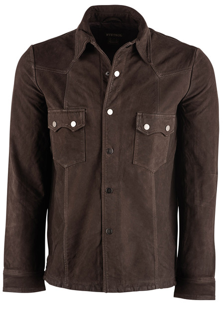 Stetson Vintage Brown Leather Shirt Jacket - Front
