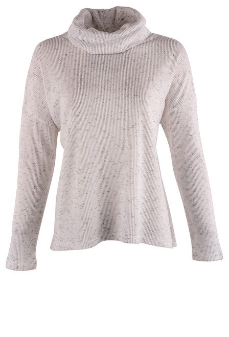Dylan Vintage White Fuzzy Flecked Cowl Neck Top - Front