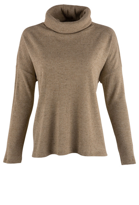 Dylan Sandstone Fuzzy Flecked Cowl Neck Top - Front
