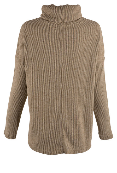 Dylan Sandstone Fuzzy Flecked Cowl Neck Top - Back