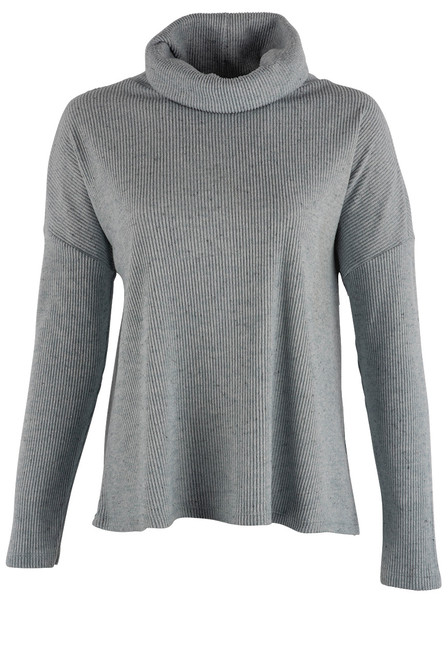 Dylan Light Blue Jean Fuzzy Flecked Cowl Neck Top - Front