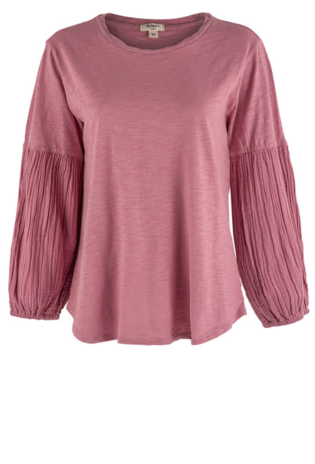 Dylan Gauze Long Sleeve Tee - Berry - Front