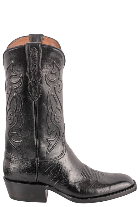 Black Jack Exclusive 12'' Black Smooth Ostrich Boot - Side