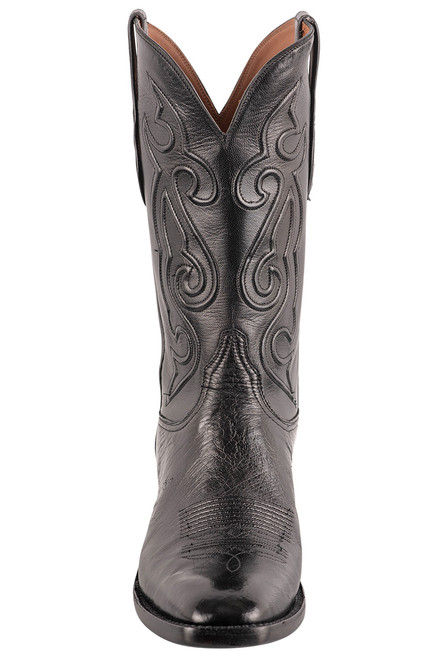 Black Jack Exclusive 12'' Black Smooth Ostrich Boot - Front