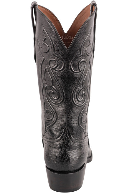 Black Jack Exclusive 12'' Black Smooth Ostrich Boot Back