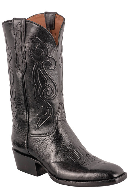 Black Jack Exclusive 12'' Black Smooth Ostrich Boot