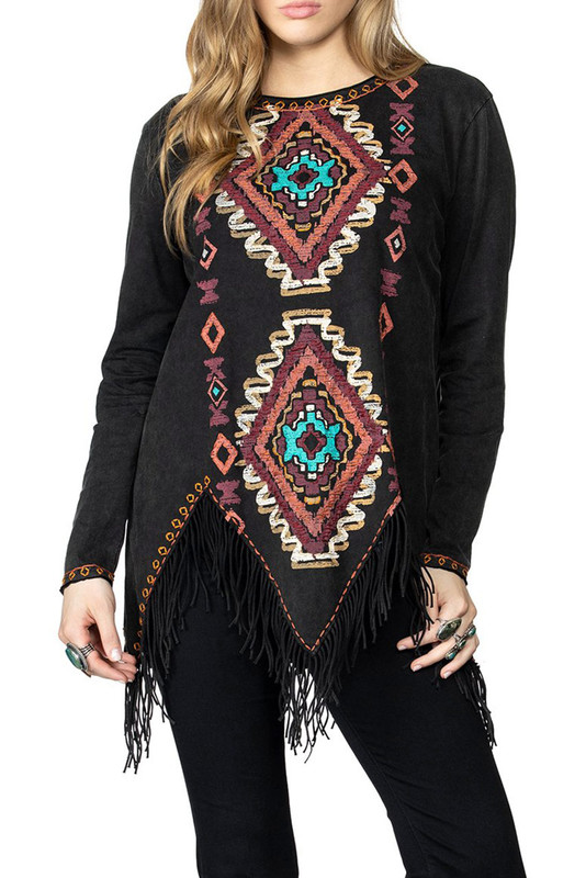 Double D Ranch Bighorn Basin Embroidered Fringe Top