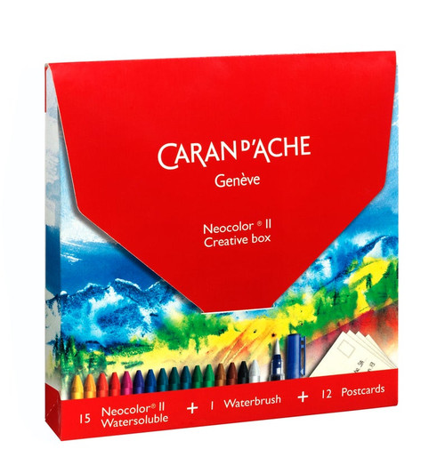 Caran D'Ache Neocolor II Creative Box Watercolor Crayons Waterbrush Postcards