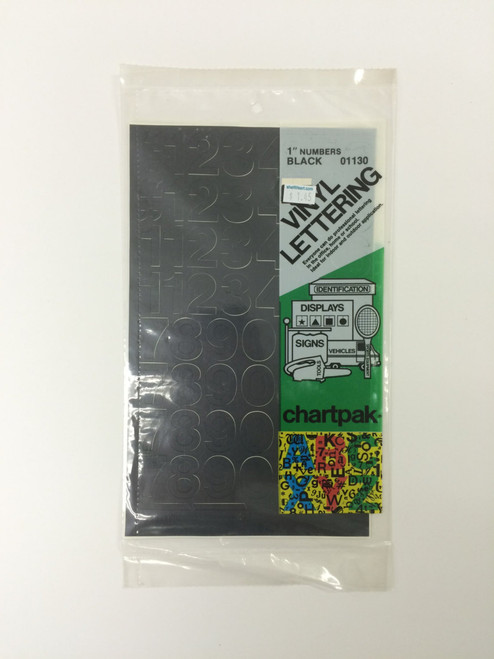 "Chartpack Vinyl Lettering Helvetica Medium NUMBERS Black 1"" STICKERS"