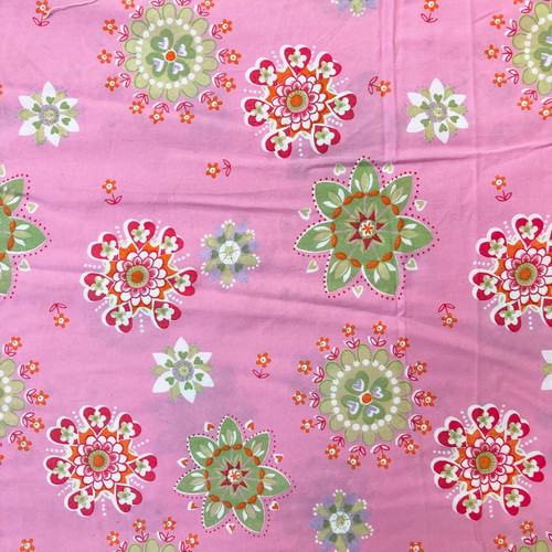 Quilting Fabric Pre-Cut Yardage 2 1/4 Yards Pink Floral Mandala