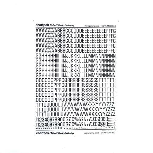 Chartpak Velvet Touch Transfer Rub-On LETTERING Microgramma Condensed Capitals 36 pt.