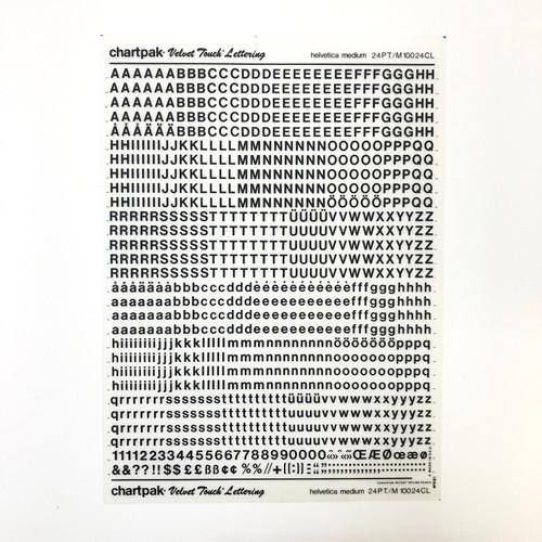 Chartpak Velvet Touch Transfer Rub-On LETTERING Helvetica Medium Capitals & Lowercase 24 pt. Black