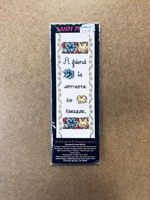 """Sandi Phipps Counted Cross-Stitch Bookmark """"A Friend is A Treasure"""""""