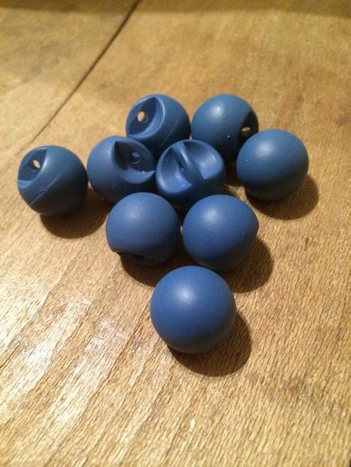 "Set of 9 Matte Blue Spherical 9/16"" BUTTONS"
