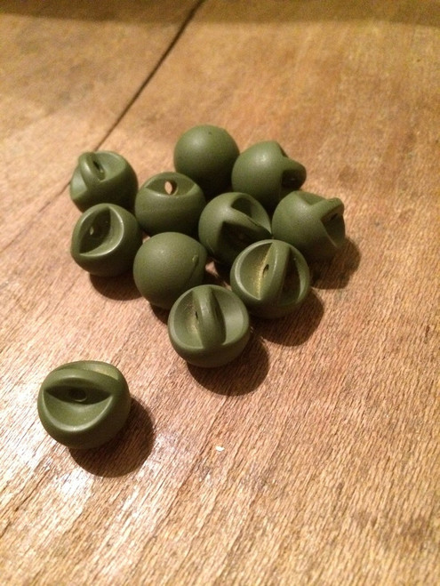 "Set of 11 Matte Army Green Spherical 1/2"" BUTTONS"