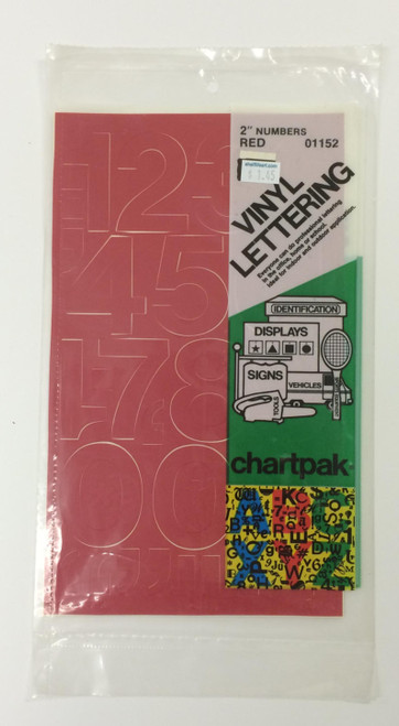 "Chartpack Vinyl Lettering Helvetica Medium NUMBERS Red 2"" STICKERS"