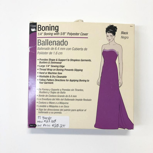 "Dritz 1/4"" Boning with 5/8"" Polyester Cover Black 11 Yards"