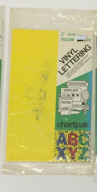 "Chartpack Vinyl Lettering Helvetica Medium NUMBERS Yellow 3"" STICKERS"