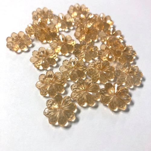 Vintage Crystal Flower BEADS 15mm 100 ct. Champagne