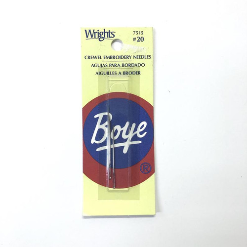 Wrights Boye Crewel Embroidery Needles #20 3 Count