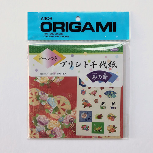 Aitoh Grimmhobby Origami Print Chiyogami with Stickers Origami Paper 24 Sheets