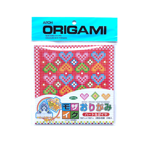 Aitoh Grimmhobby Origami Mosaic Heart & Diamond Origami Paper 24 Sheets