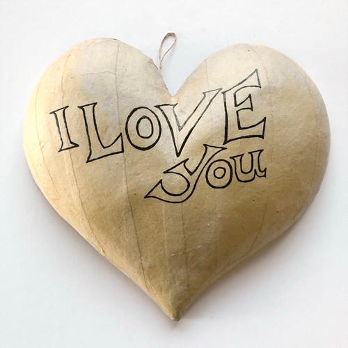 I Love You Paintable Kraft Paper Mache Heart