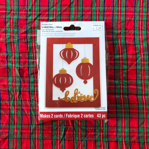 Recollections Christmas Light Up Card Kit Believe Ornaments