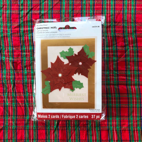 Recollections Christmas Light Up Card Kit Merriest Wishes Poinsettia
