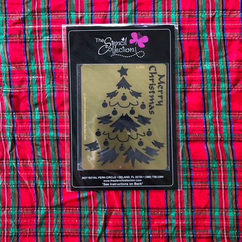 The Stencil Collection Brass Embossing Stencil Merry Christmas Tree